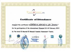 Сертификат - Международная олимпиада изобретений и инноваций, Тунис, с 22 по 24 февраля 2013 года.